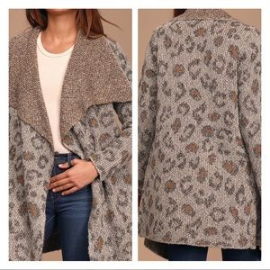 Leopard Print Knit Cardigan Sweater